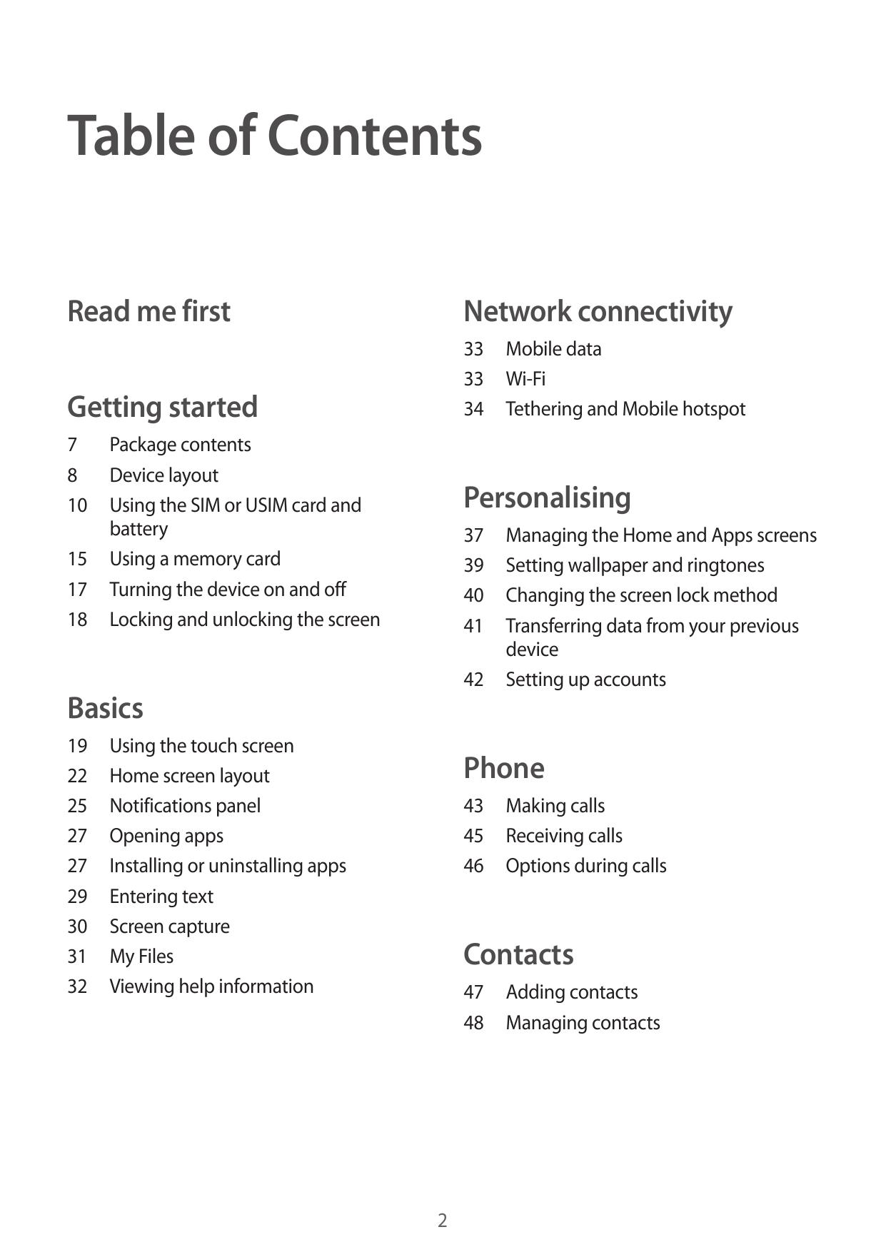 Samsung Galaxy Pocket 2 user guide manual