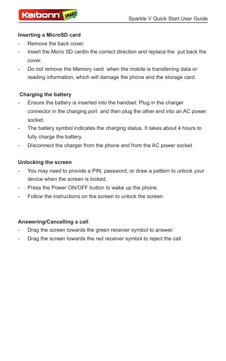Manual Karbonn Sparkle V Android 44 Smart Guides