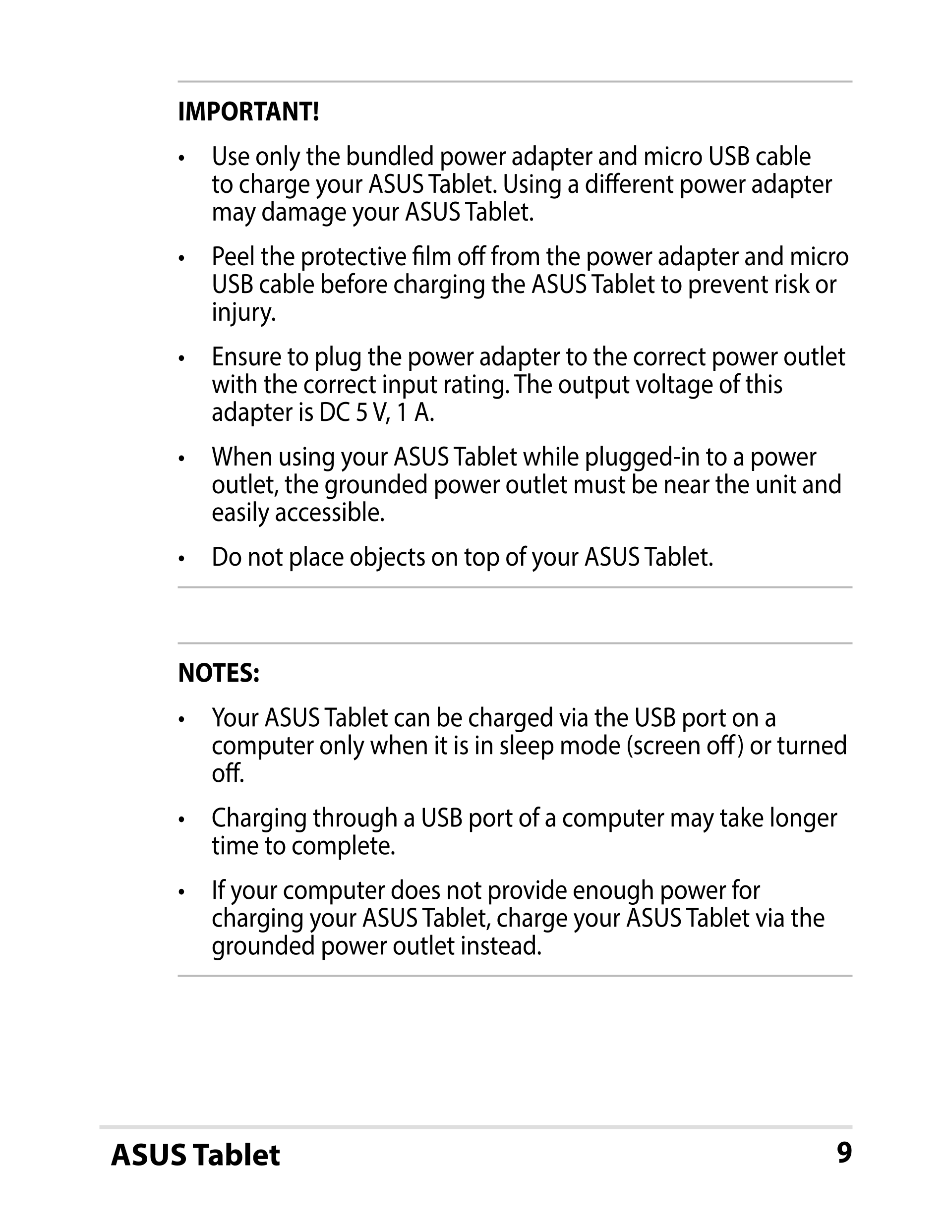 Manual Asus Fonepad 7 Android 43 Smart Guides Usb Cable Wiring Diagram User For Important Use Only The Bundled Power Adapter And Micro To Charge Your