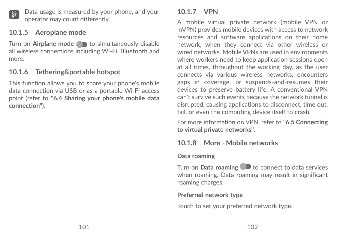 User manual for Alcatel 3X. Data usage is measured by your phone, and  youroperator may count differently.10.1.
