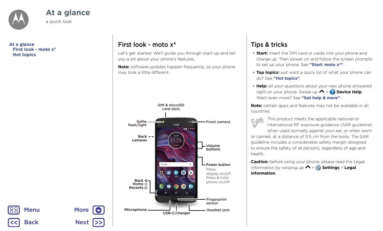 User manual for Motorola Moto X4