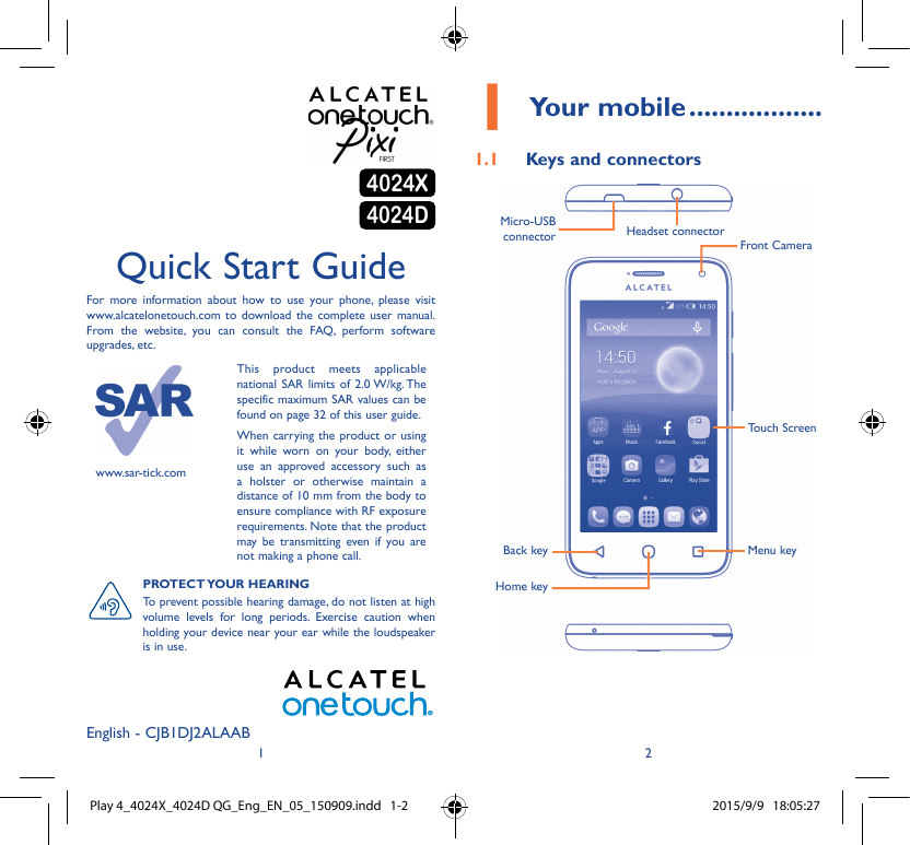 Alcatel One Touch Speak Easy For Virgin Mobile Users Manual